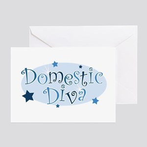 """""""Domestic Diva"""" [blue] Greeting Cards (Package of"""